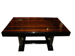 highgloss black art deco dining table with a palisander top, beautiful palisanderwood, france 1930, highquality pianolacqer