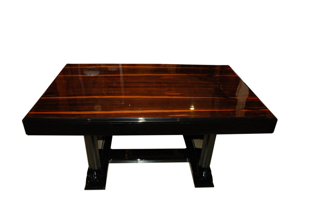 highgloss black art deco dining table with a palisander top, beautiful  palisanderwood, france 1930 - Art Deco Dining Table With Palisander Table Top - Original Antique