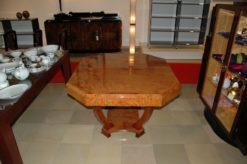 beautiful dining table, made of unique amboina burl wood, octagonale top, expandable, with glas plate, france 1930