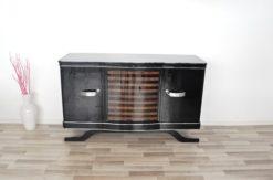 Art Deco Sideboard, striped walnut furnier, pianolacquer , wonderful foot, Eyecatcher