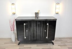 Art Deco Highboard, big chrome handles, highgloss black lacquer, plenty of storage space, clear design