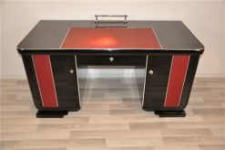 Art Deco Desk, red leather applications, chrome details, original locks, Belgium 1925