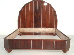 Art Deco Bed, Palisanderwood, wide square legs, signiert Majorelle, tapered, polygonal headend, angled corners, bedroom furniture