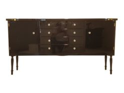 Art Deco Commode, curved body, highgloss black pianolacquer, chrome handles, wonderful feet