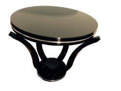 Art Deco Sidetable, black pianolacquer, Marseille 1930, Chromlinies