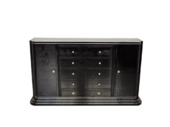 Art Deco Highboard, Drawer-Sideboard, highglossblack pianolacquer, 10 drawers and 1 door, plenty of storage space, red interior