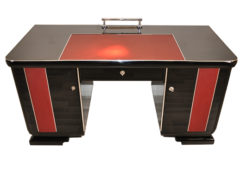 Art Deco Desk, red leather applications, chrome details, original locks, Belgium 1925