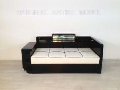 Art Deco Daybed, Backside with mirror, Pianolacquer, bright leather