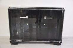 frenach art deco sideboard, unique body, highglossblack pianolacquer, 1938, swing doors