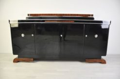 Luxurious Art Deco Sideboard, Burlwood Details, extension plate made of mamor, highgloss lacquer, french feet