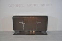 XXL Art Deco Sideboard, Metallic-Grey, seing foot, fine chrome details, interior made of mahogany, plenty of storage space, eyecatcher