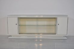 Art Deco Lowboard, Sideboard, Highggloss White, Shelve made of glass, chromebars, sliding doors, great design
