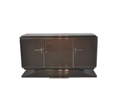XXL Art Deco Sideboard, Metallic-Grey, seing foot, fine chrome details, interior made of mahogany, plenty of storage space, eyecatcher