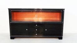Art Deco Sideboard, Vitrine, Highgloss Lacquer, Chromelines, Glas- Slidingdoors