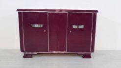 Art Deco Sideboard, unique color, Metallic-lilac, big chromehandles