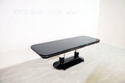 Art Deco Dining Table, beautiful chrome elements, highglossblack pianolacquer, lacobell glass plate, xxl table top- width of 250cm