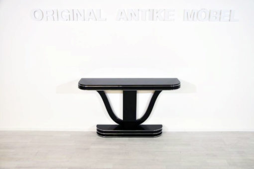 Art Deco Console, highglossblack pianolacquer, fine chromelines, great design