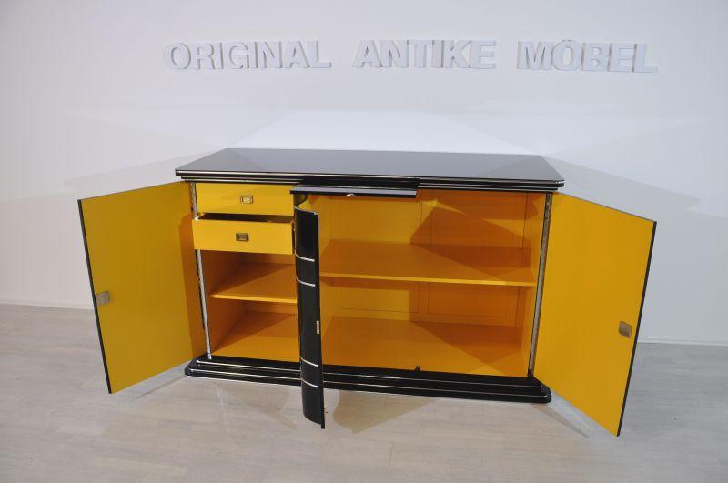 Art Deco Sideboard With Bright Yellow Interior Original