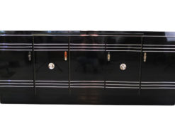 Art Deco Sideboard, Chromliner; Pianolacquer, red interior, wonderful foot, france1940