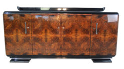 Art Deco Sideboard,Burlwood furnier, france, chromehandles, pianolacquer