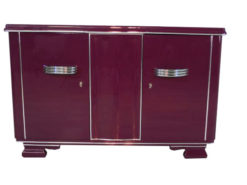 Art Deco Sideboard, unique color, Metallic-lilac, big chromehandles