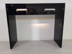 small bauhaus console, unique and simple design, highgloss black piano lacquer, big chromehandles