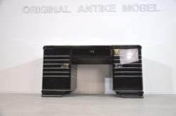 Unique ChromlinerDesk from the Art Deco era, typical Art Deco body language, fine chromelines and massive handles, painted from all sides, top plate made of lacobel-glass