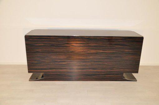 Art Deco Sideboard, design, furniture, macassar, high gloss, storage, cabinet, chrome, living room, buffet, antique, restored, vintage