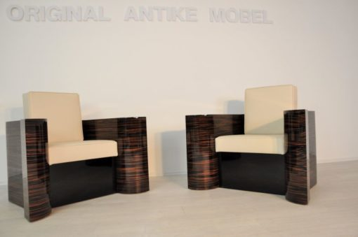 Art Deco Armchairs, Macassarwood, highg quality leather, highgloss lacquer, best quality