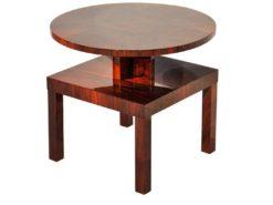Art Deco, antique, original, rare, table, side table, highgloss, walnut, unique, elegant, living room, restored, french, 1930s