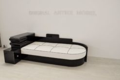 art deco daybed, art deco bed, furniture,highgloss black pianolacquer, luxurious leather top, unique Art Deco Design, small compartment