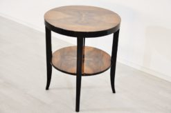 Art Deco Siderable, legs with a multilayer pianolacquer, tabletop made of walnut-wood, compact measurements - diameter of 56cm