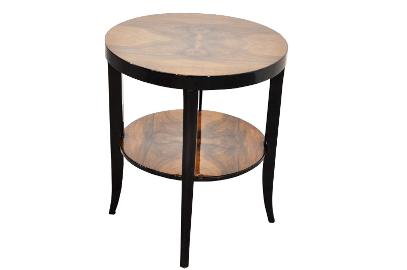 Art Deco Siderable, Legs With A Multilayer Pianolacquer, Tabletop Made Of  Walnut Wood