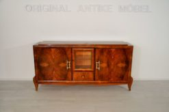 stylish Sideboard, wonderful burlwood, plenty of storage space, big surface area, drawers, small vitrine compartement, brass handles