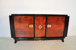 Art Deco, Sideboard, Macassar, veneer, brass, ornamentation, pianolacquer, bar compartment, unique pattern, original piece, france