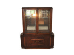 Art Deco, Vitrine, Sideboard, Mirror, dark Wlanut wood, brass handles, 1930s, veneer, original piece, glass doors, very good condition