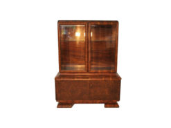 Art Deco, Glass Vitrine, showcase, two parts, glass cabinet, plenty of storage, france, original piece, walnut, unique wooden texture