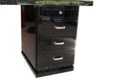 Art Deco, antique, original, rare, desk, highgloss, black, unique, high quality, elegant, office furniture, restored, french, pianolacquer