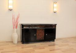 original, art deco, sideboard, buffet, walnut wood, drawers,burl, details, applications, front, pianolacquer, living room, antique, furniture