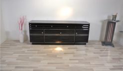 Art Deco, Sideboard, Buffet, XXL, extra big, chromliner, chromelines, highgloss, black, pianolacquer, design, furniture, storage, living room