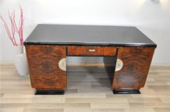 Art Deco, Desk, two sided, burl wood, doors,highgloss black, pianolacquer, handpolished, manufactory, office furniture, french feet