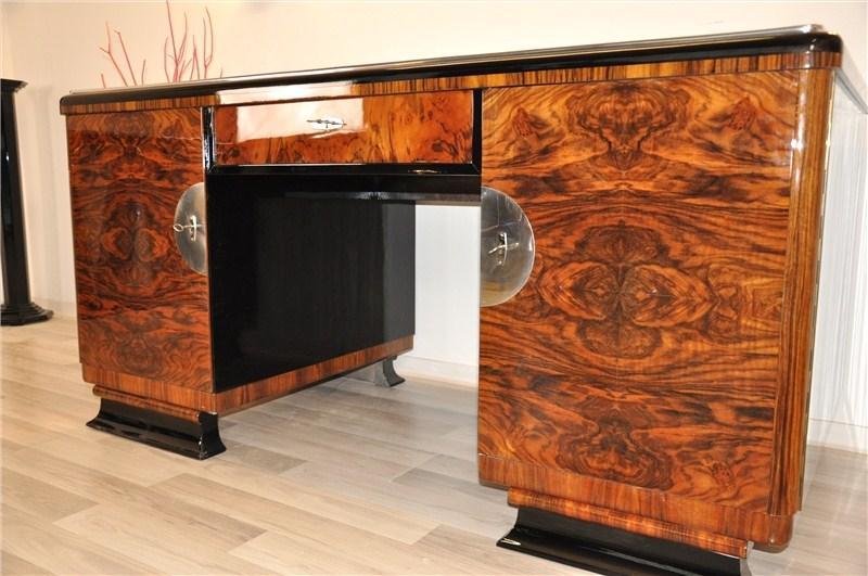 Two Sided Art Deco Desk With Burl Wood Doors Original