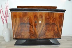 Art Deco, commode, sideboard,walnut wood, veneer, hutch, highgloss black, pianolacquer, french foot, petite, shelve, living room, furniture