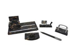 desk set, marble, 1930s, five pieces, date calendar, tray, letter opener made of wood, letter rack, rocker blatter, office decoration