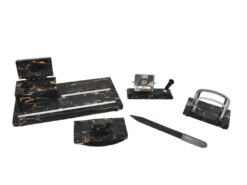 desk set, marble, 1930s, five pieces, date calendar, tray, letter opener made of wood, letter rack, rocker blatter, office decoration