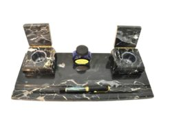 desk set, marble, 3 pieces, rocker blotter, letter rack, fountain pen tray, black and white marbled, tabletop decoration, office furniture