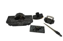 writing desk set, black marble, letter opener with elefant head handle, paperweight with elefant head details, marble tray, rocker blutter, letter rack