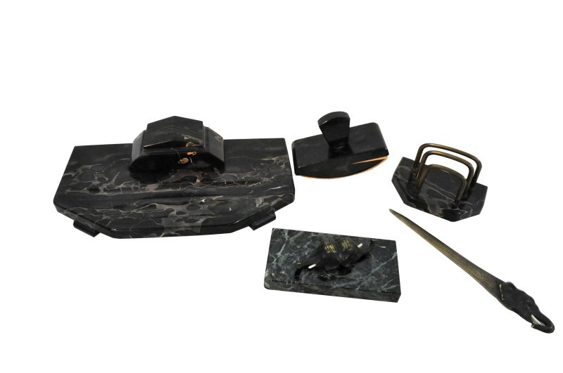 Writing Desk Set Black Marble Letter Opener With Elefant Head Handle Paperweight