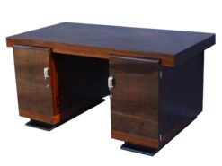 art deco desk, walnut wood, small middle crosspiece, plenty of storage compartements, thick top plate, elegant handles, office furniture, living room