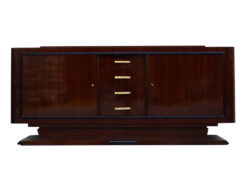 art deco sideboard, walnut wood, two big doors, four small drawers, wonderful veneer, closed base, living room furniture,